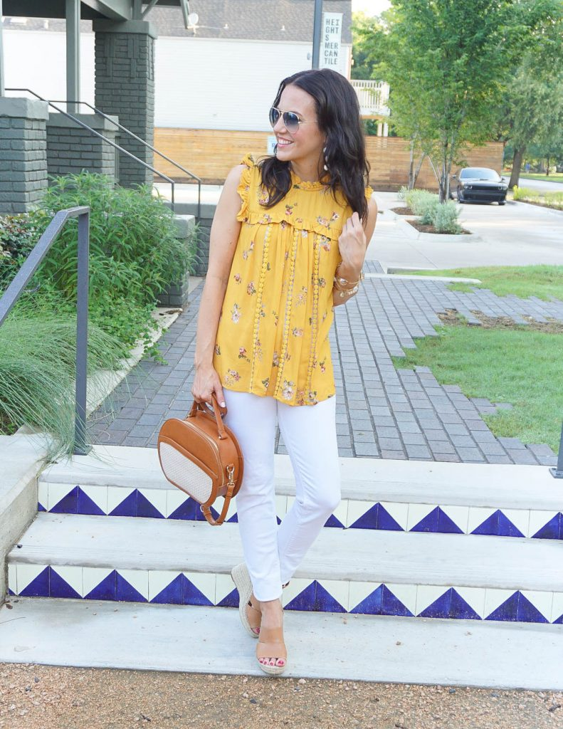 Summer Outfit | Yellow Floral Top | White Denim | Houston Fashion Blogger Lady in Violet