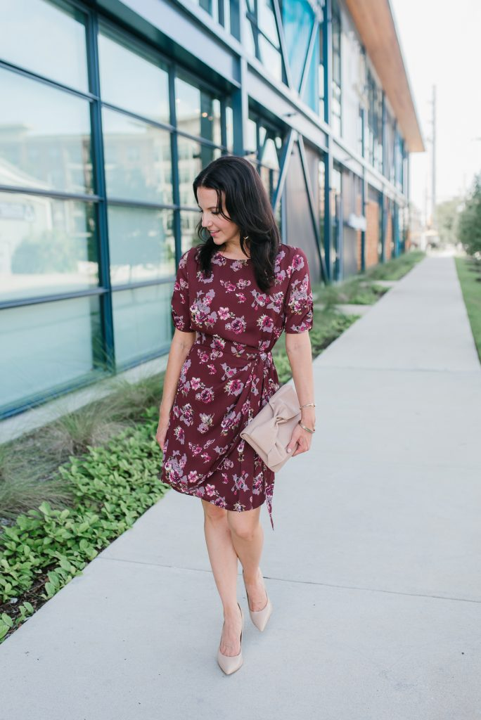 summer to fall work dress | maroon floral wrap dress | bow clutch | Houston Fashion Blogger Lady in Violet