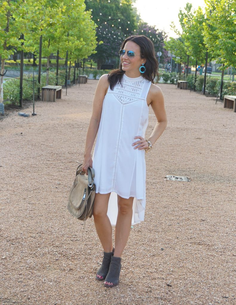 What to Wear to White Linen Night Houston | White Casual Dress | Peep toe booties | Houston Fashion Blogger Lady in Violet
