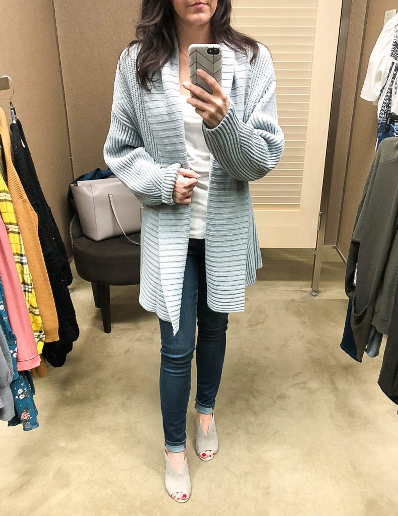 fall outfit | nordstrom anniversary sale | oversized gray cardigan | Houston Fashion Blogger Lady in Violet
