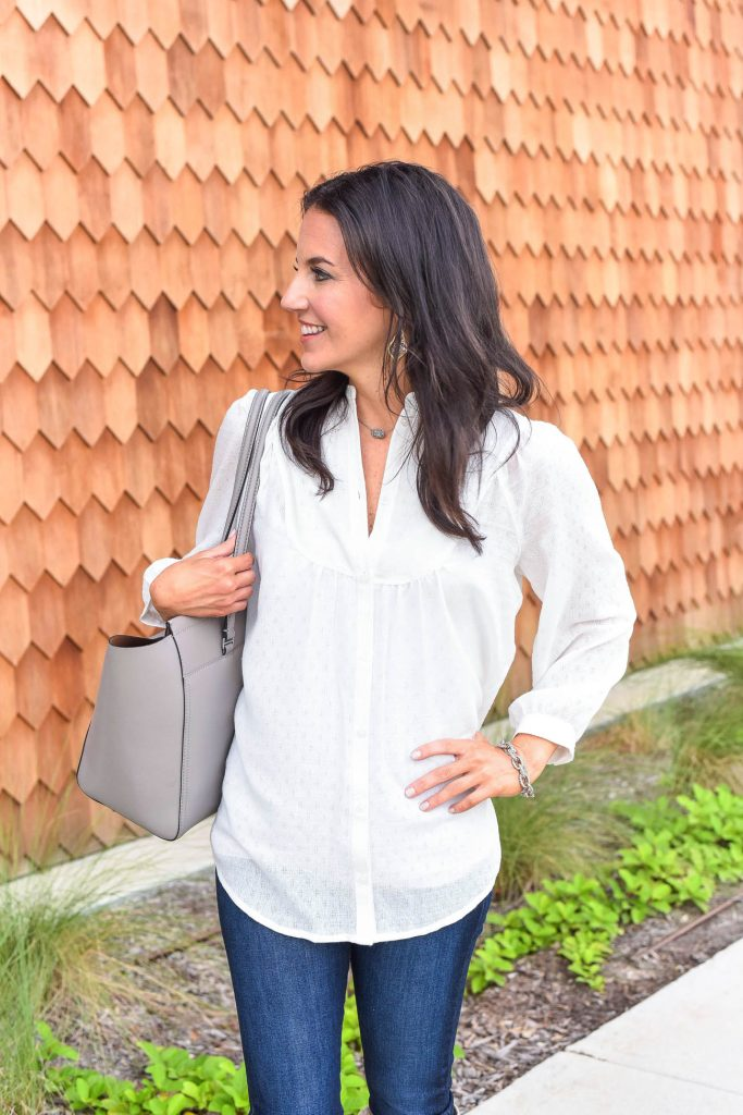 fall outfit | white bib blouse | tory burch tote bag | Houston Fashion Blogger Lady in Violet