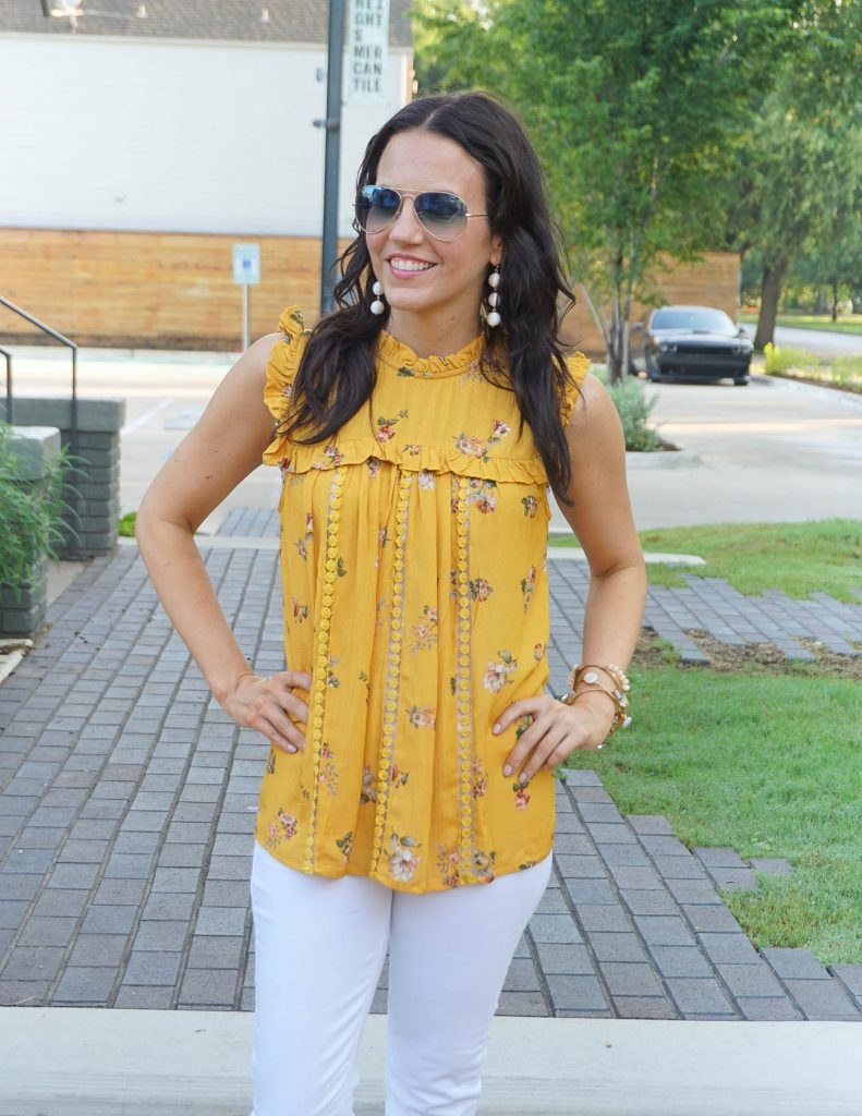 Summer Fashion | Yellow Sleeveless Top | Blue Aviator Sunglasses | Houston Fashion Blogger Lady in Violet