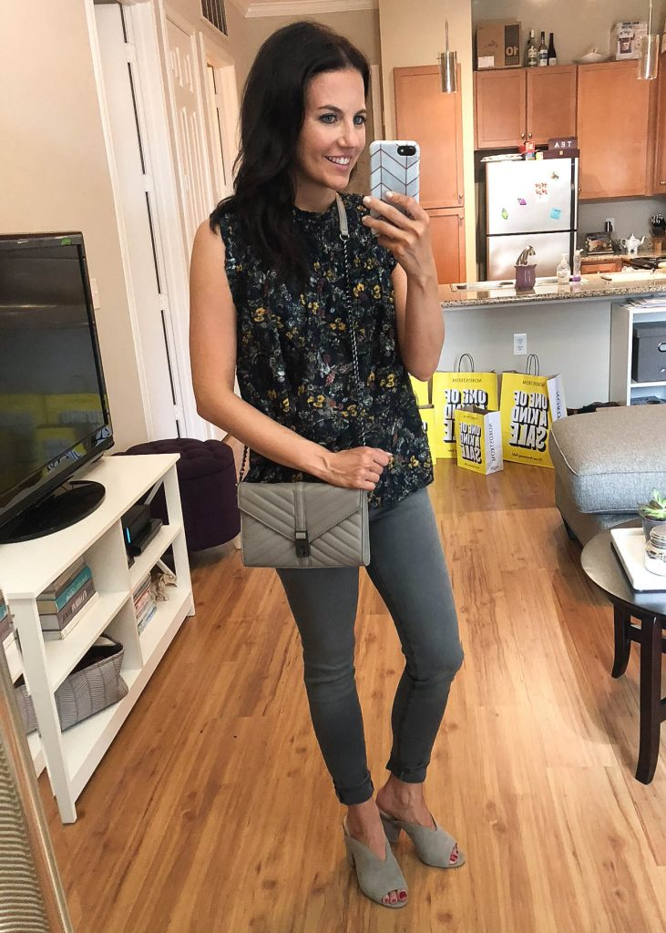 summer outfit | gray crossbody bag | gray skinny jeans | Houston Fashion Blogger Lady in Violet