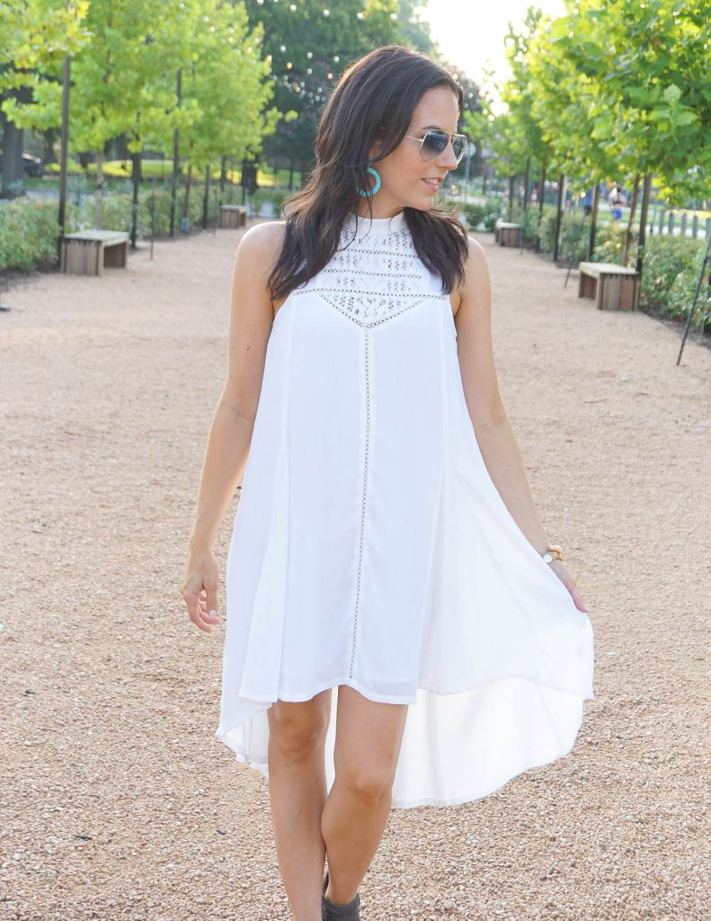 what to wear to white linen night Houston | summer outfit | white dress | Houston Fashion Blogger Lady in Violet