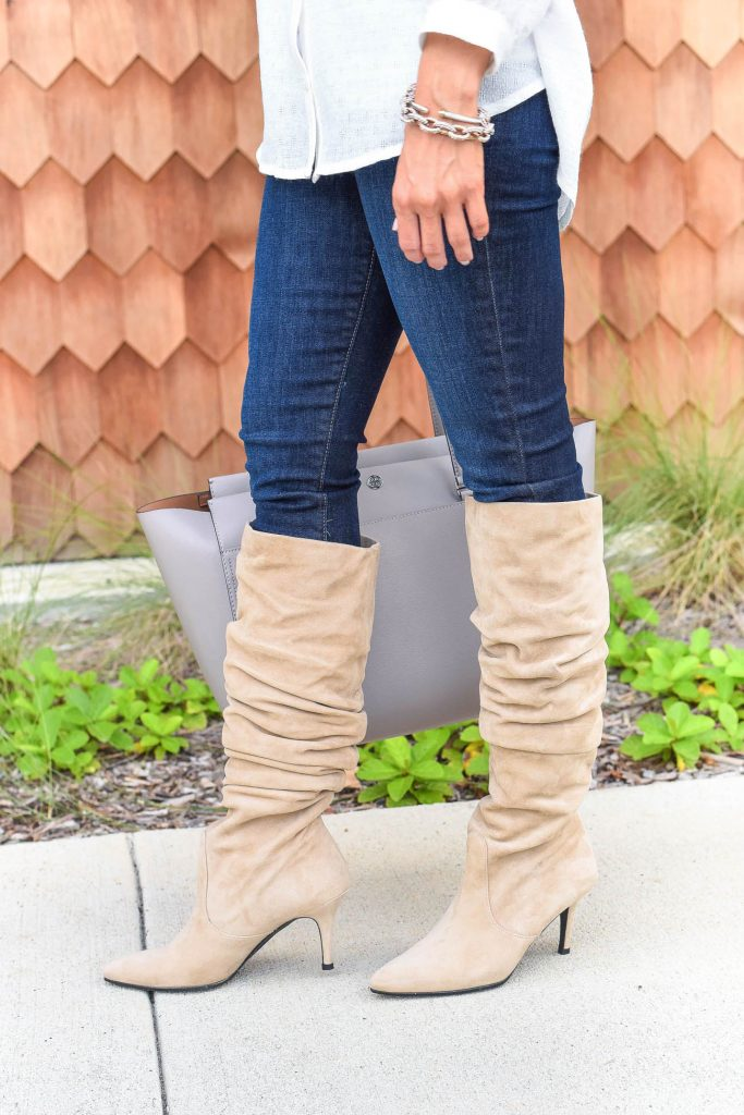 casual fall outfit | stuart weitzman slouchy boots | dark skinny jeans | Houston Fashion Blogger Lady in Violet