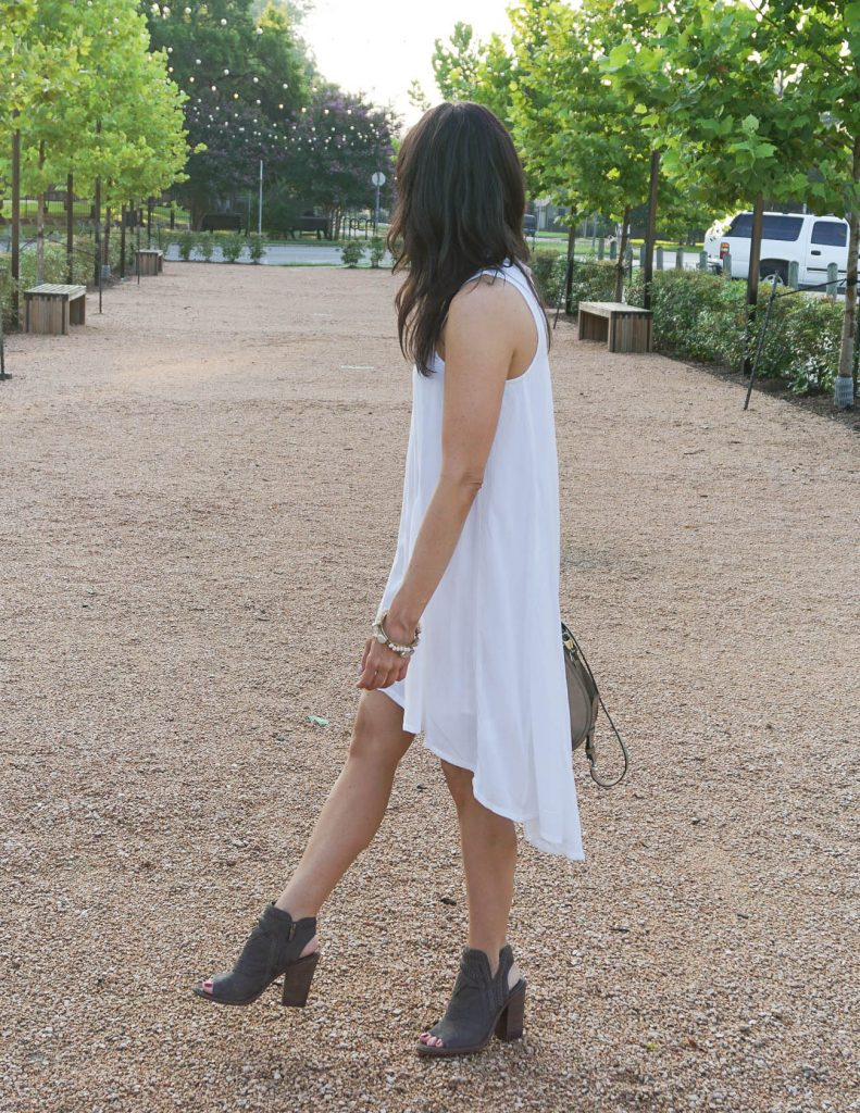summer outfit | casual white dress | peep toe booties | Houston Fashion Blogger Lady in Violet