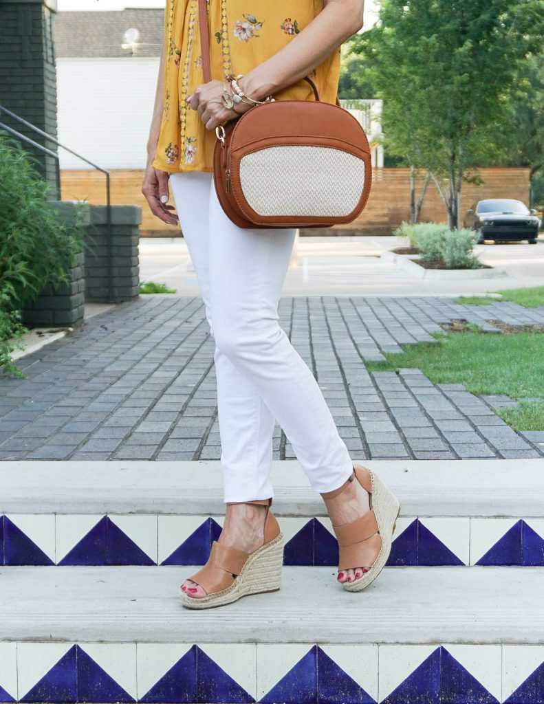 Summer Outfit | White Skinny Jeans | Espadrille Wedges | Houston Fashion Blogger Lady in Violet