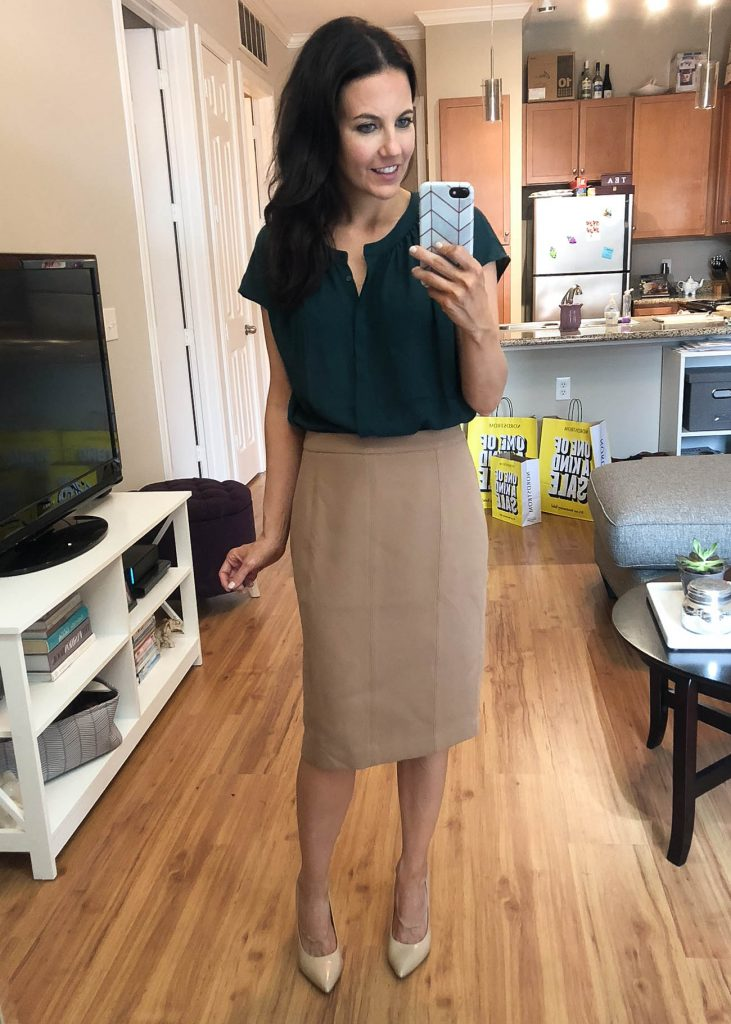 summer work outfit | teal blouse | camel pencil skirt | Nordstrom Anniversary Sale Try On Haul | Houston Fashion Blogger Lady in Violet