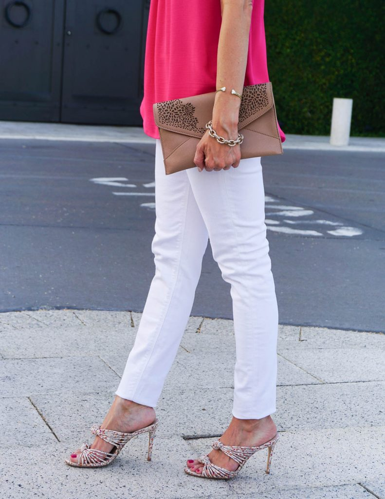 Weekend Outfit | White Skinny Jeans | Floral Heels | Houston Fashion Blogger Lady in Violet