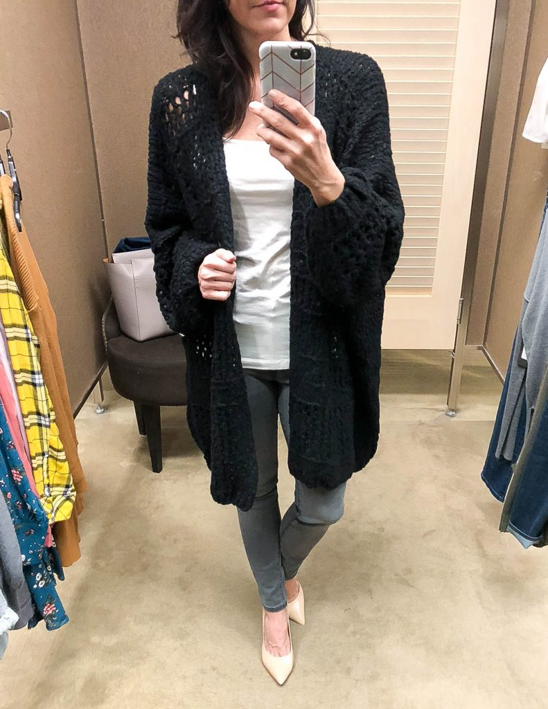Winter Outfit | Free People Sunday Cardigan | Gray Jeans | Houston Fashion Blogger Lady in Violet