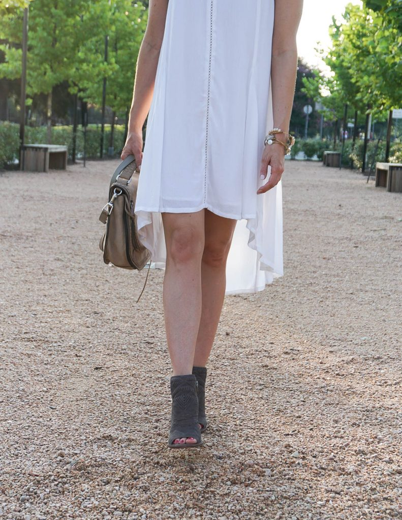 casual outfit | white cotton dress | peep toe booties | Houston Fashion Blogger Lady in Violet