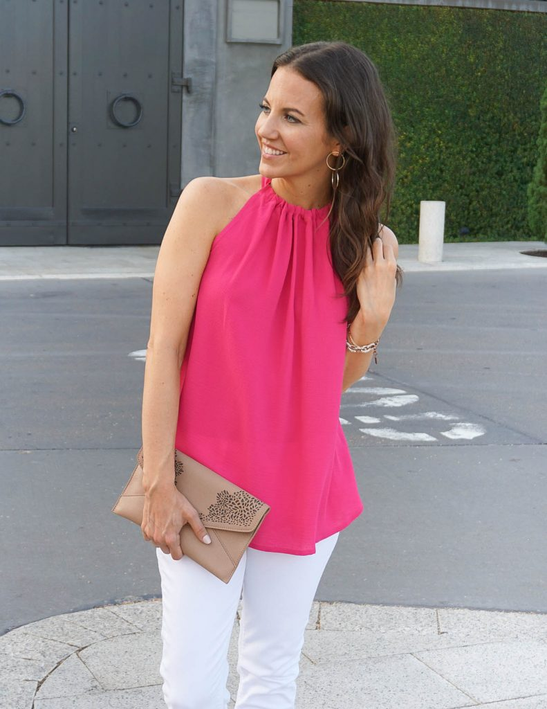 Casual Summer Outfit | Pink Halter Top | Double Hoop Earrings | Houston Fashion Blogger Lady in Violet