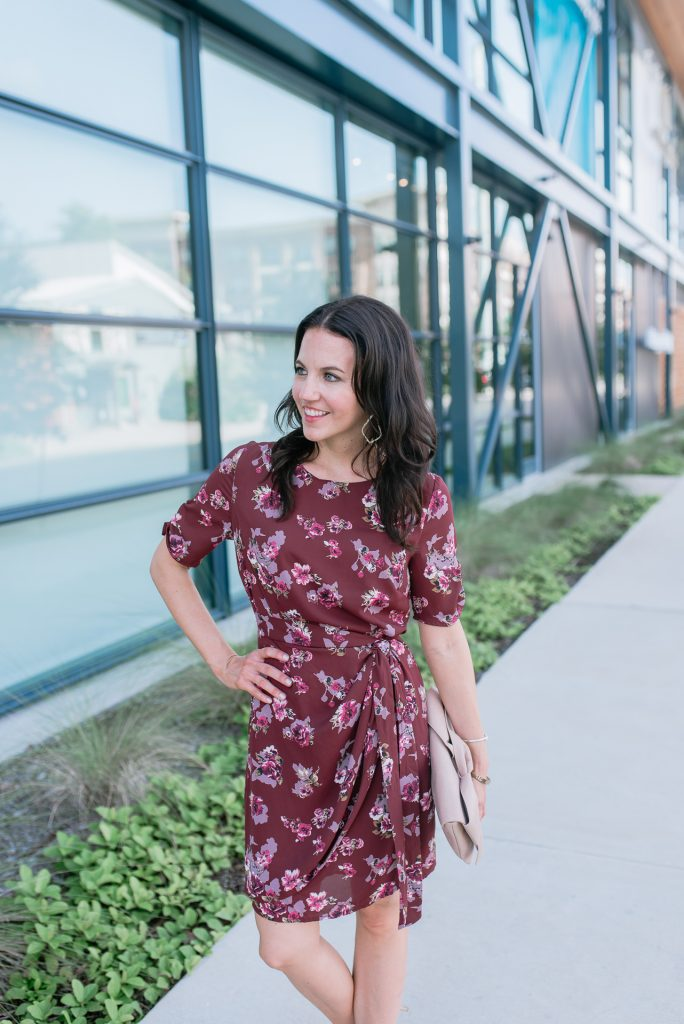 fall outfit | workwear | floral wrap dress | Houston Fashion Blogger Lady in Violet
