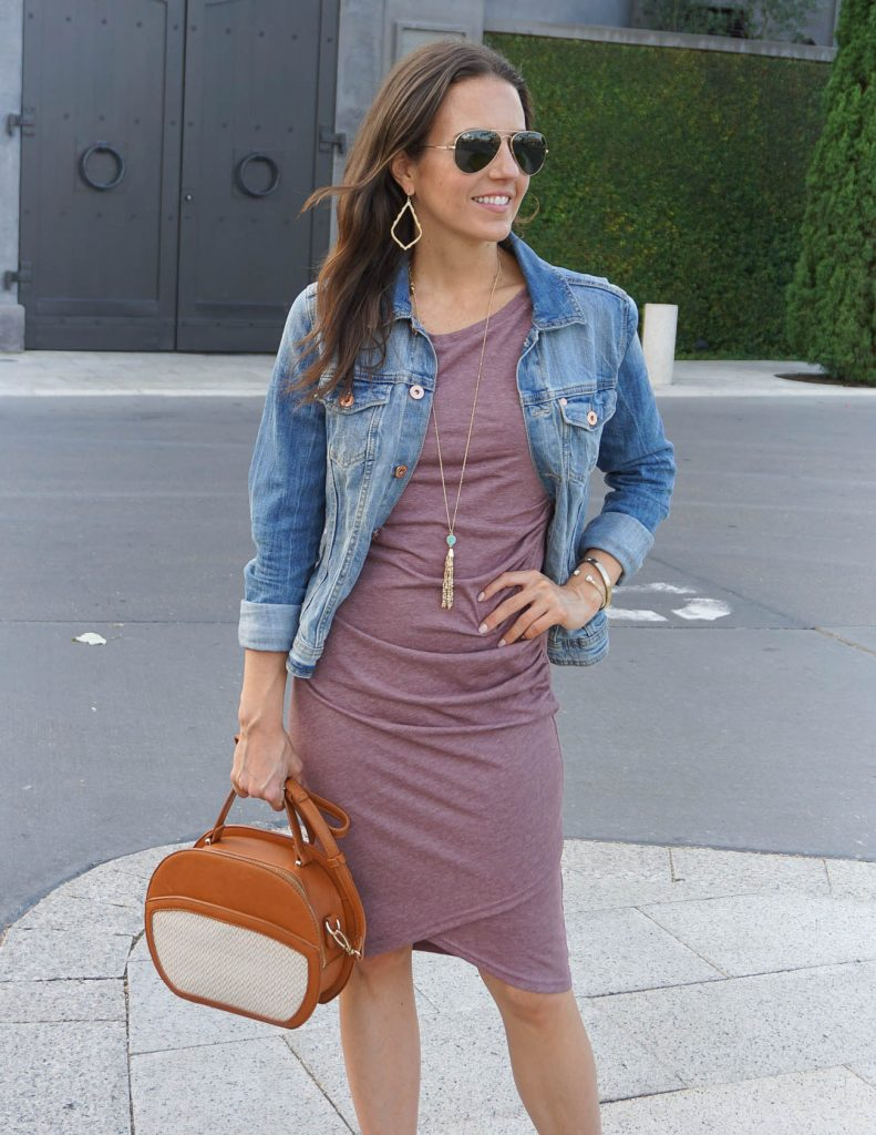 Summer Outfit | Ruched Tank Dress | Denim Jacket | Houston Fashion Blogger Lady in Violet