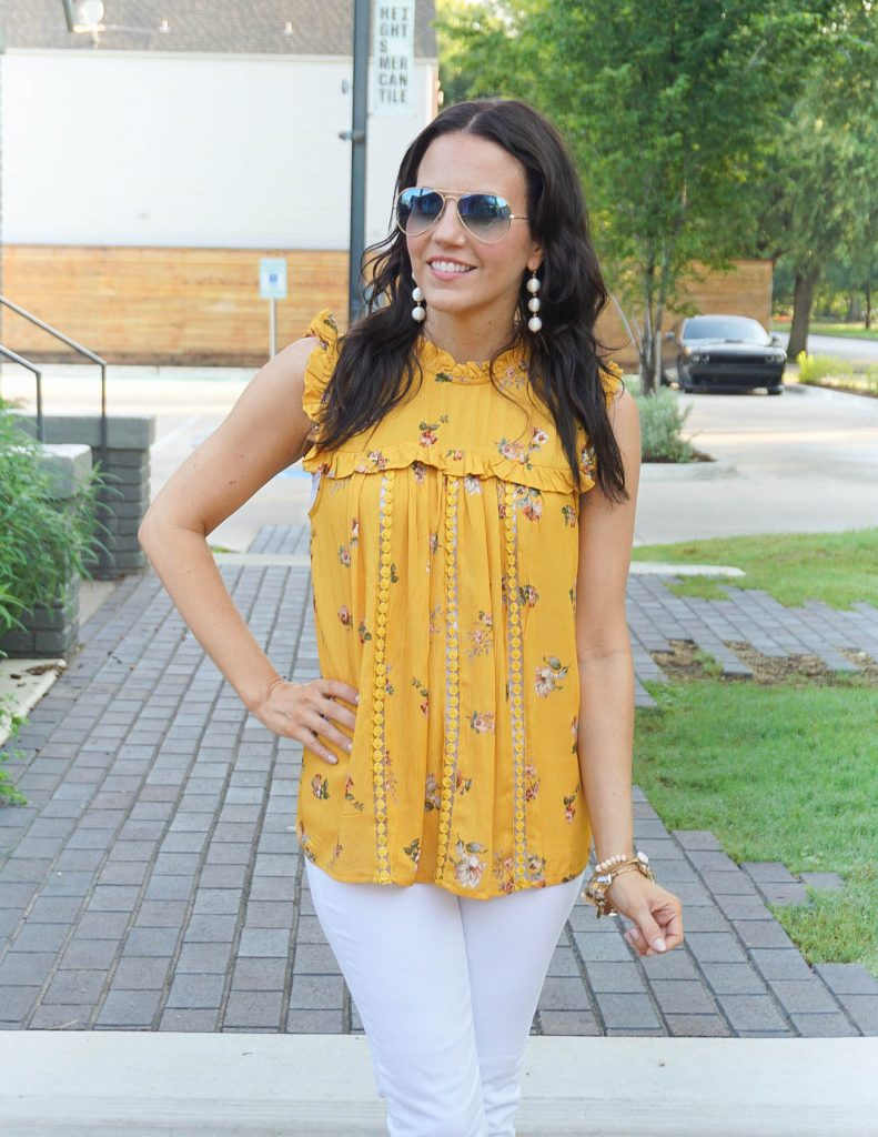 Summer Outfit | Yellow Floral Top | White Ball Earrings | Houston Fashion Blogger Lady in Violet