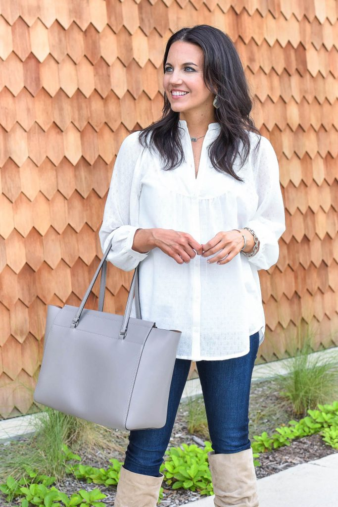 weekend outfit | white tunic top | tory burch tote bag | Houston Fashion Blogger Lady in Violet