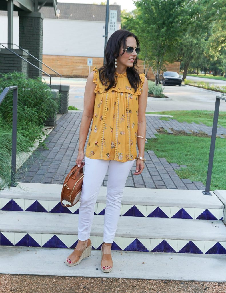 Casual Outfit | Yellow Sleeveless Blouse | White Denim | Houston Fashion Blogger Lady in Violet