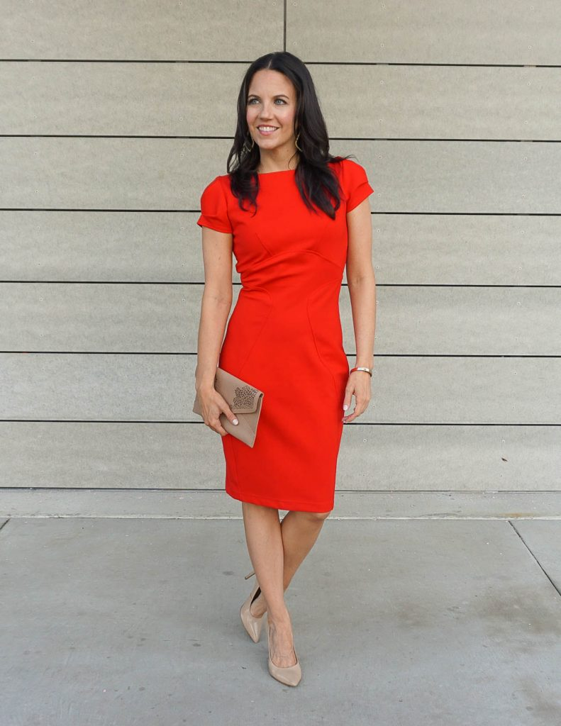 Date Night Outfit | Red Bodycon Dress with Sleeves | Steve Madden Heels | Houston Fashion Blogger Lady in Violet