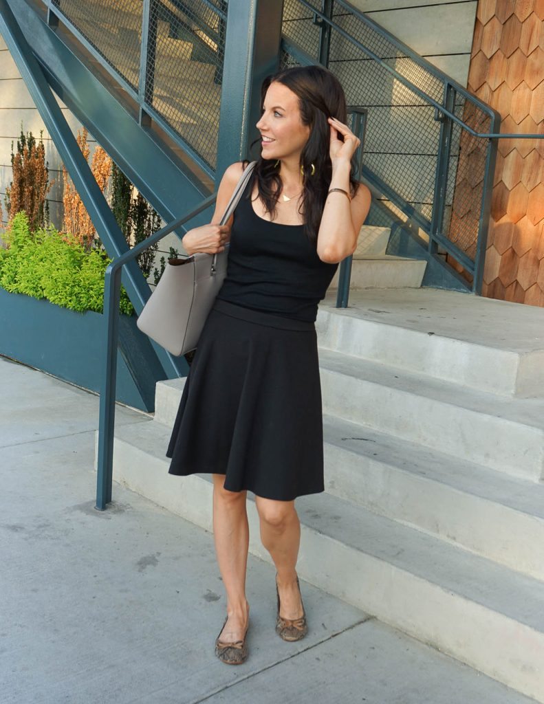 Summer Work Outfit | Black Tank Top | Flared Skirt | Houston Fashion Blogger Lady in Violet