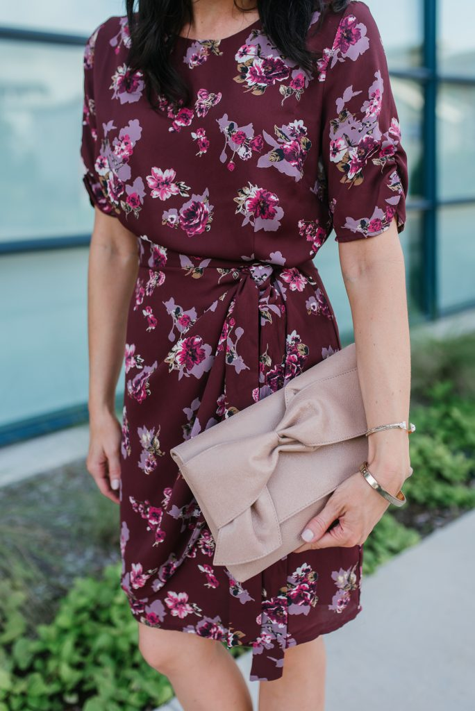 burgundy floral wrap dress | work wear | elaine turner clutch | Houston Fashion Blogger Lady in Violet