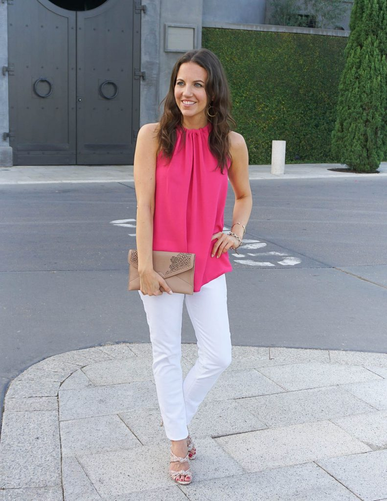 Casual Summer Outfit | Pink Top | White Denim | Houston Fashion Blogger Lady in Violet