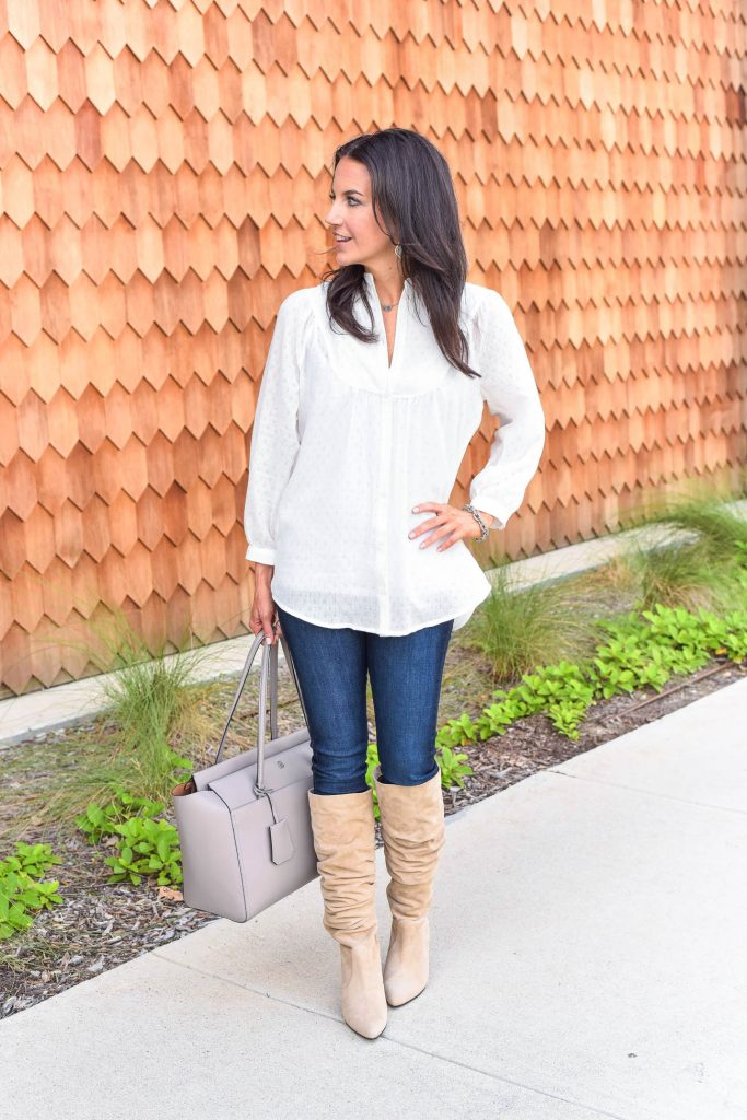 Fall outfit | dark denim with tan suede boots | Houston Fashion Blogger Lady in Violet