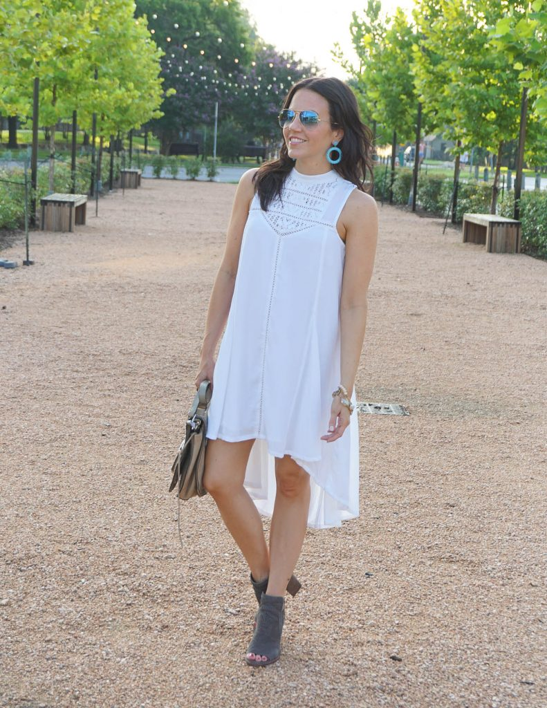 summer outfit | casual white dress | turquoise earrings | Houston Fashion Blogger Lady in Violet