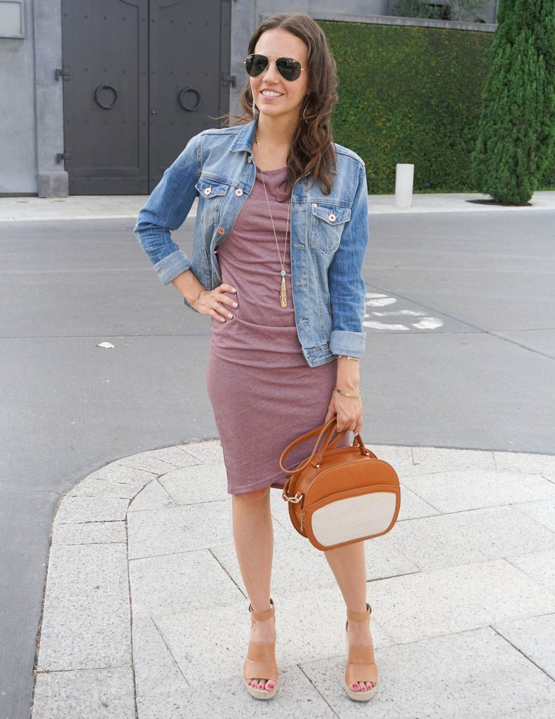 Summer Outfit | Purple Ruched Tank Dress | Denim Jacket | Houston Fashion Blogger Lady in Violet