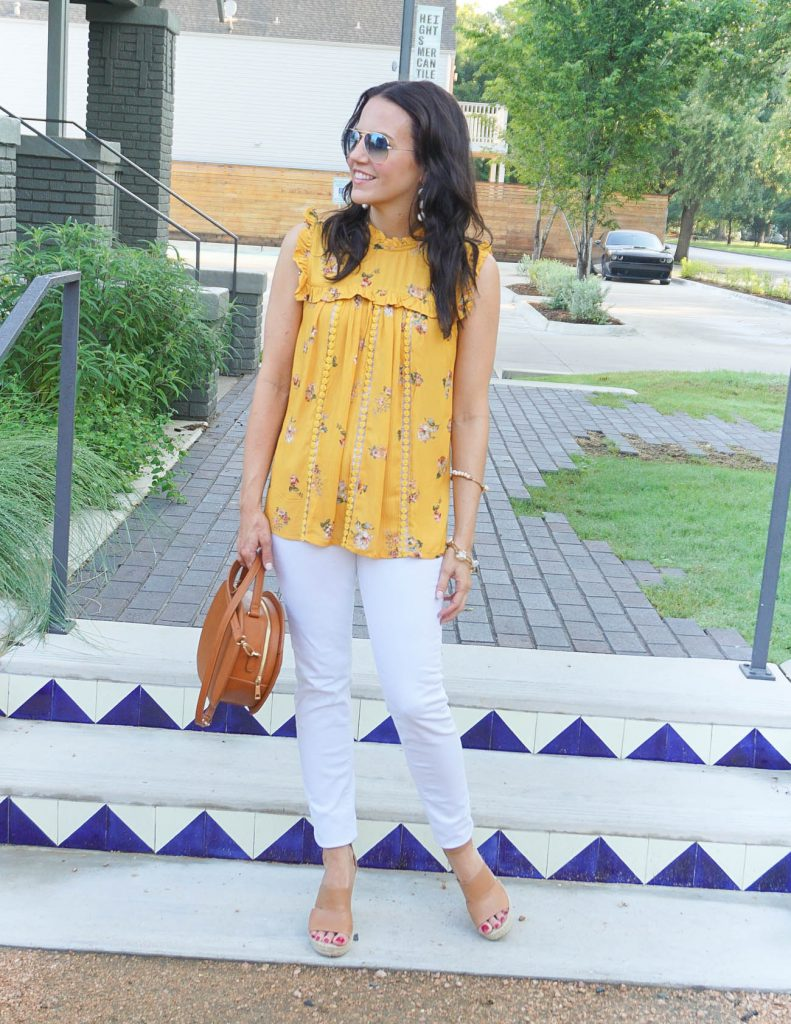 Weekend Outfit | Yellow Floral Top | White Skinny Jeans | Houston Fashion Blogger Lady in Violet