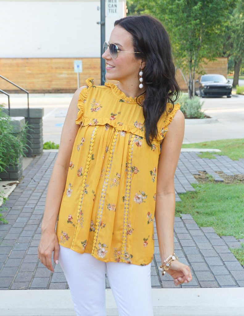 Casual Weekend Outfit | Yellow Floral Top | White Jeans | Houston Fashion Blogger Lady in Violet