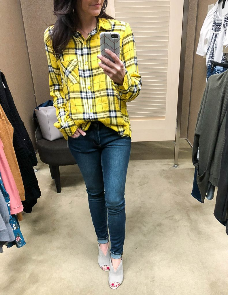 fall outfit | yellow plaid top | blue skinny jeans | Houston Fashion Blogger Lady in Violet