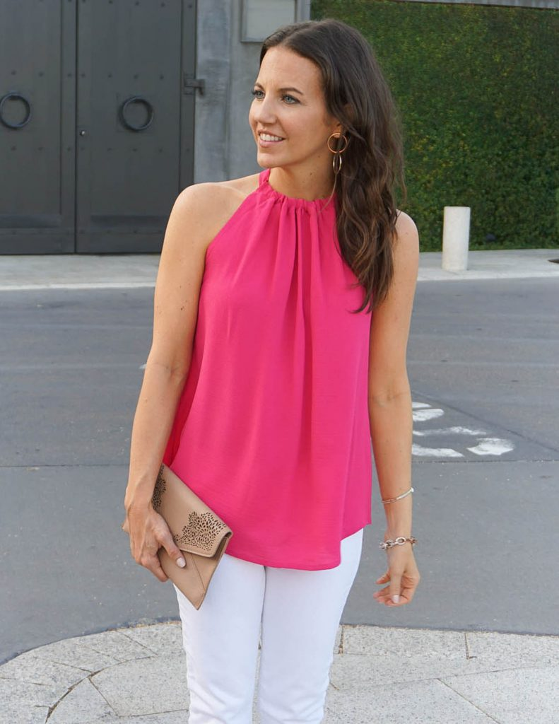 Weekend Outfit | Pink Halter Top | Nude Clutch | Houston Fashion Blogger Lady in Violet