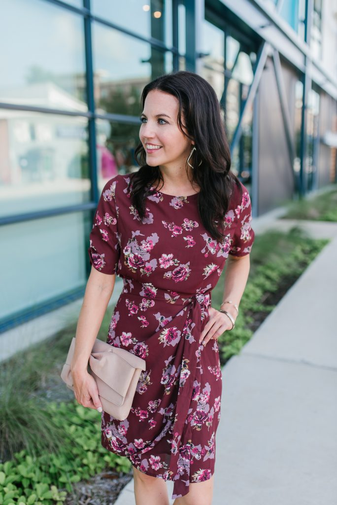 Workwear | fall fashion | floral wrap dress | Houston Fashion Blogger Lady in Violet