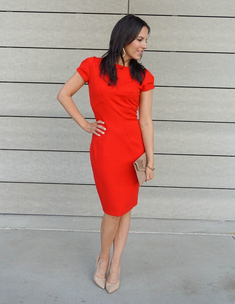 Date Night Outfit | Red Cocktail Dress | Comfy Heels | Houston Fashion Blogger Lady in Violet