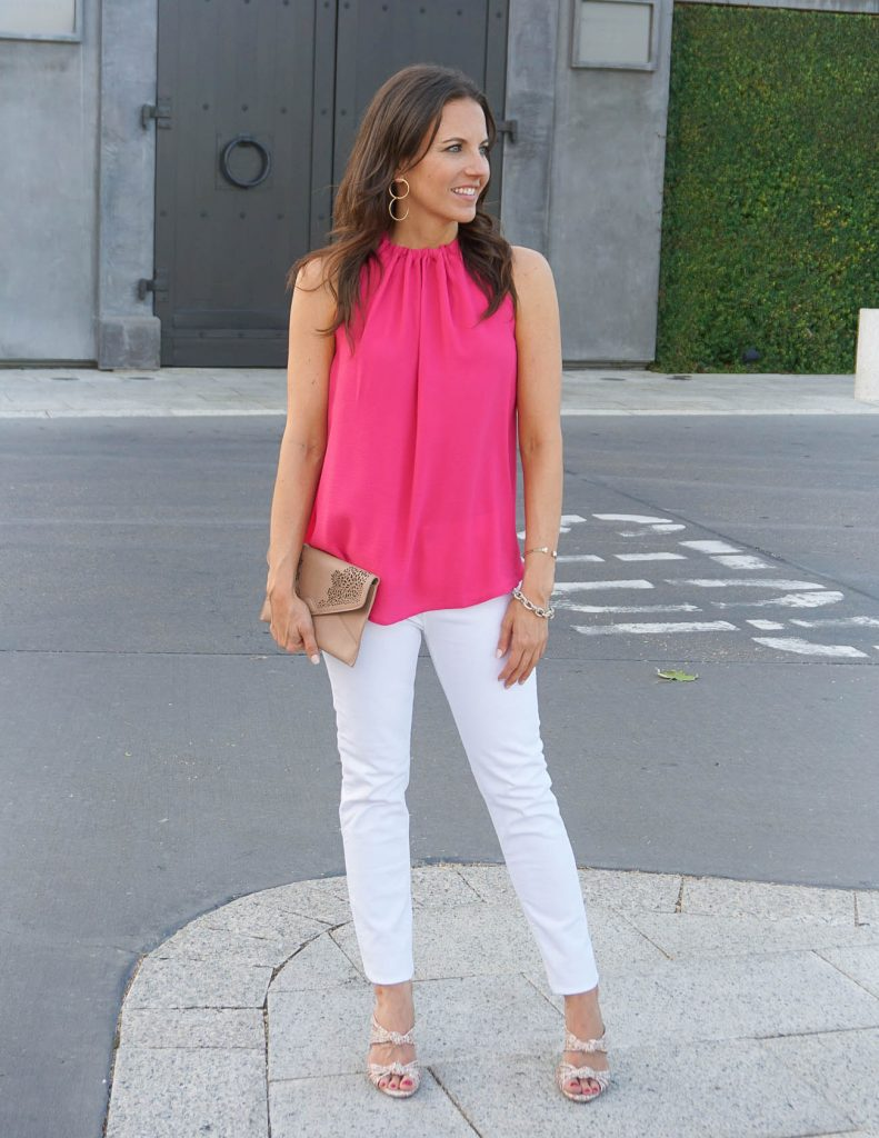 Summer Outfit | Pink Halter Top | White Skinny Jeans | Houston Fashion Blogger Lady in Violet