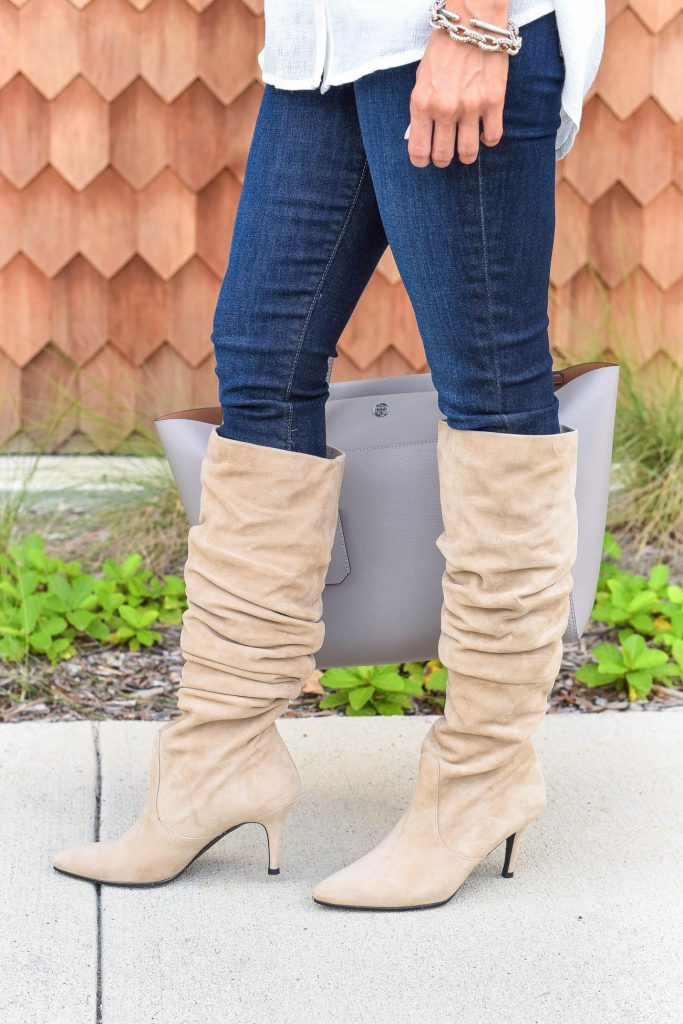 winter outfit | tall suede boots | dark skinny jeans | Houston Fashion Blogger Lady in Violet