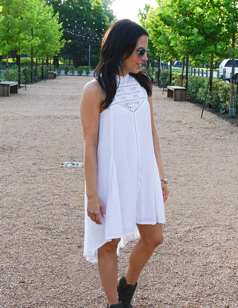Outdoor Festival Outfit | Summer Style | White Casual Dress | Houston Fashion Blogger Lady in Violet