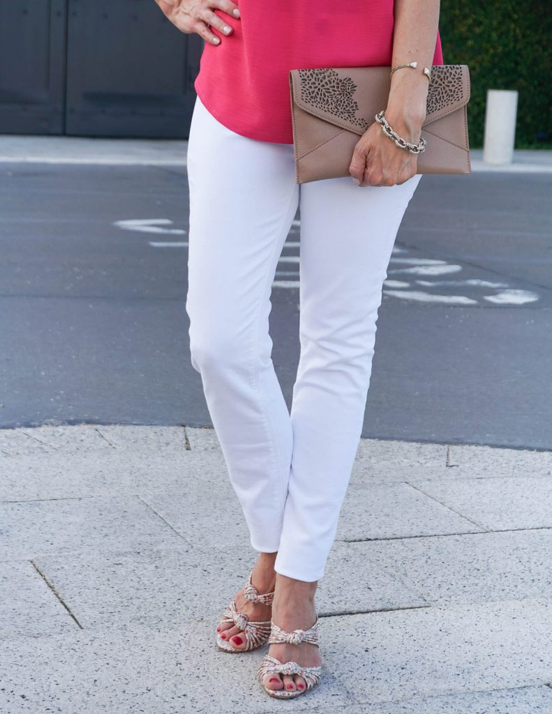 Summer Outfit | Hudson White Skinny Jeans | Schutz Chandra Heels | Houston Fashion Blogger Lady in Violet