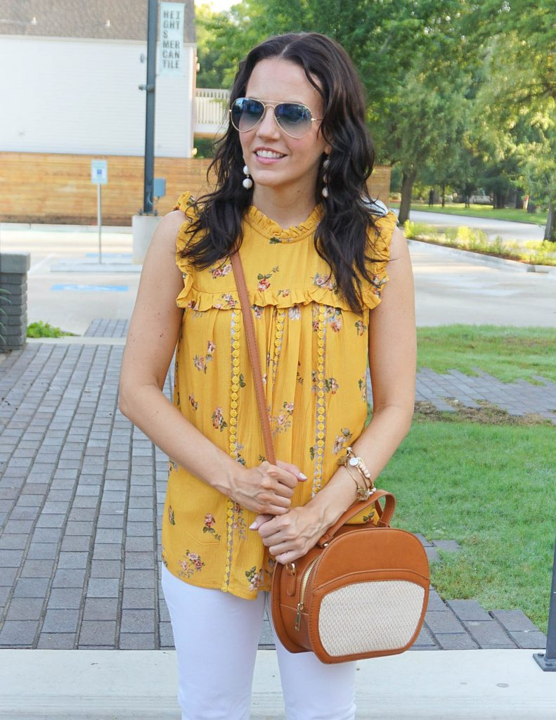 Summer Outfit | Yellow Floral Top | Canteen Crossbody Bag | Houston Fashion Blogger Lady in Violet