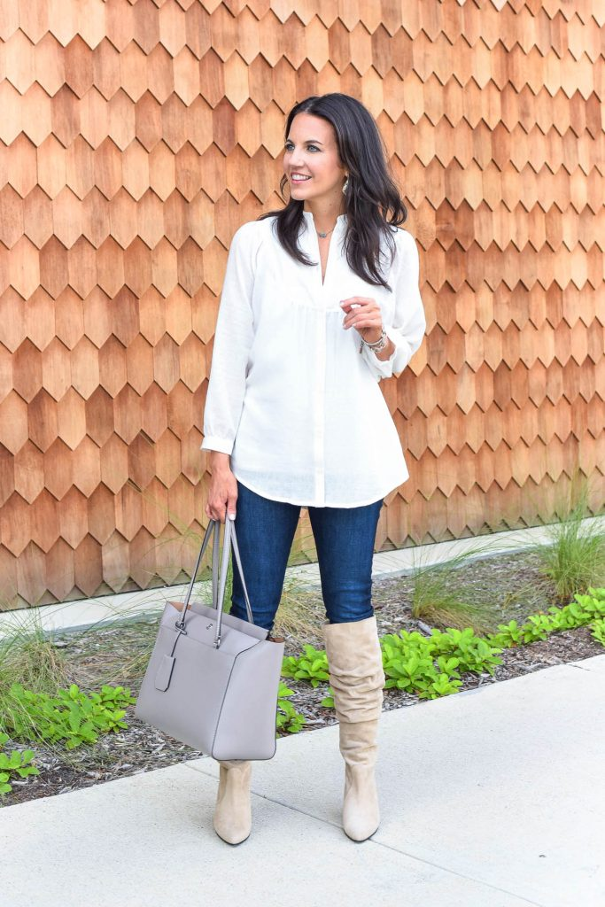 Fall outfit | stuart weitzman boots | white tunic top | Houston Fashion Blogger Lady in Violet