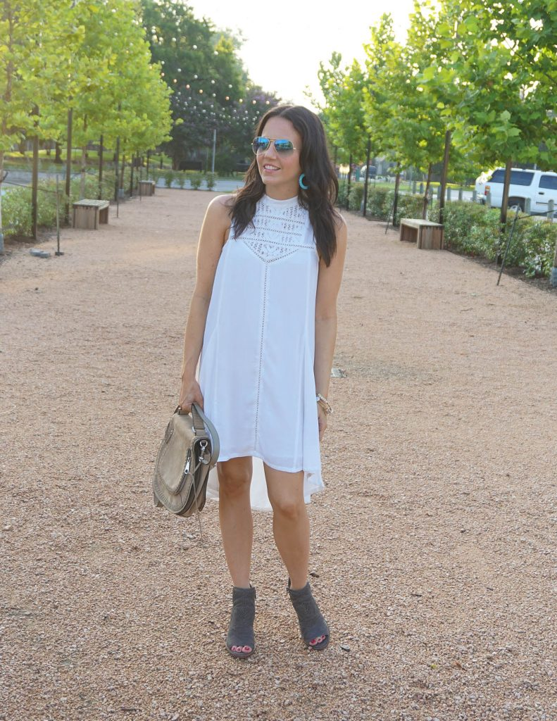 summer outfit | white casual dress | peep toe booties | Houston Fashion Blogger Lady in Violet