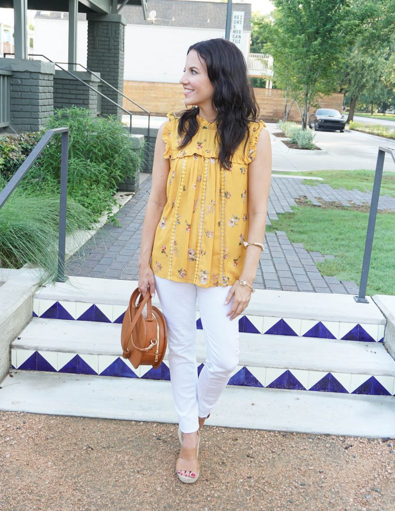 Summer Outfit | Yellow Sleeveless Top | White Skinny Jeans | Houston Fashion Blogger Lady in Violet