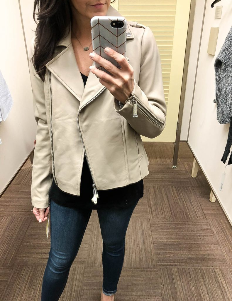 winter fashion | light beige leather jacket | nordstrom anniversary sale | Houston Fashion Blogger Lady in Violet