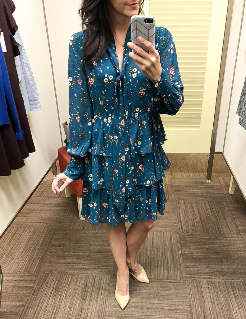 workwear | green floral dress | Houston Fashion Blogger Lady in Violet