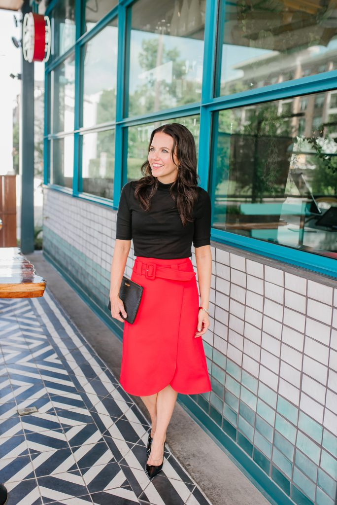 fall outfit | red midi skirt | black turtleneck blouse | Houston Fashion Blogger Lady in Violet