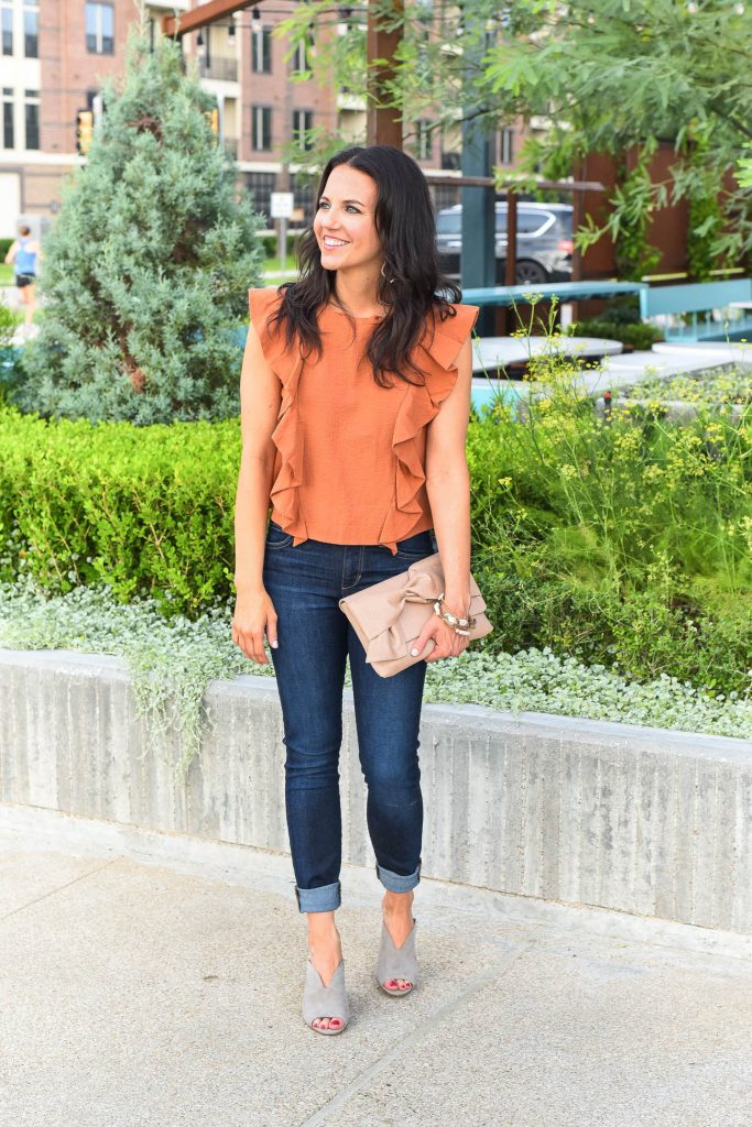 Summer outfit | orange ruffle top | gray suede mules | Houston Fashion Blogger Lady in Violet
