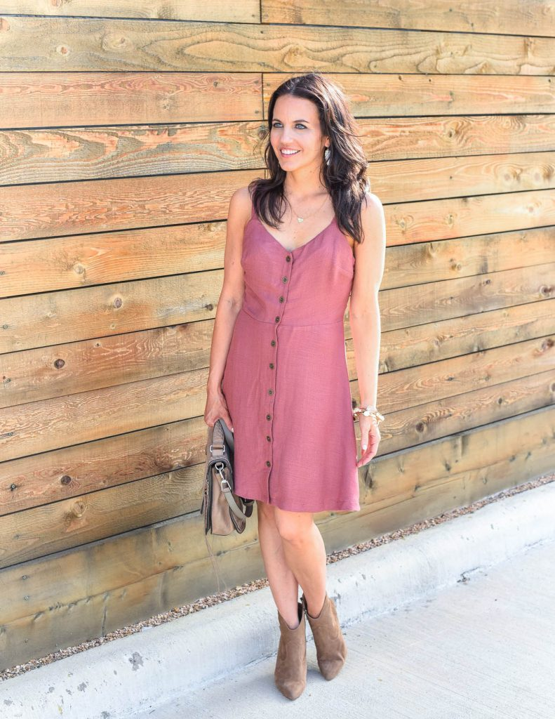 Summer outfit | pink button dress | brown booties | Houston Fashion Blogger Lady in Violet