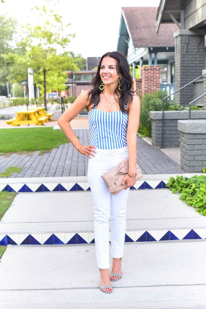 Summer outfit | striped bodysuit | white skinny jeans | Houston Fashion Blogger Lady in Violet