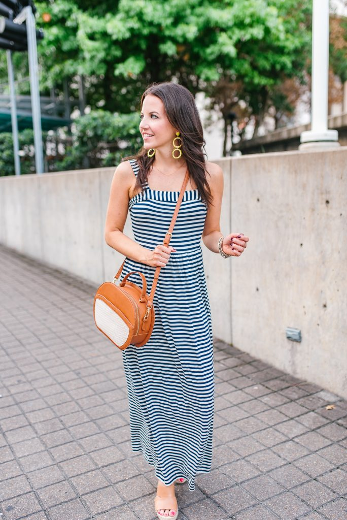 summer outfit | striped maxi dress | brown wedges | Houston Fashion Blogger Lady in Violet