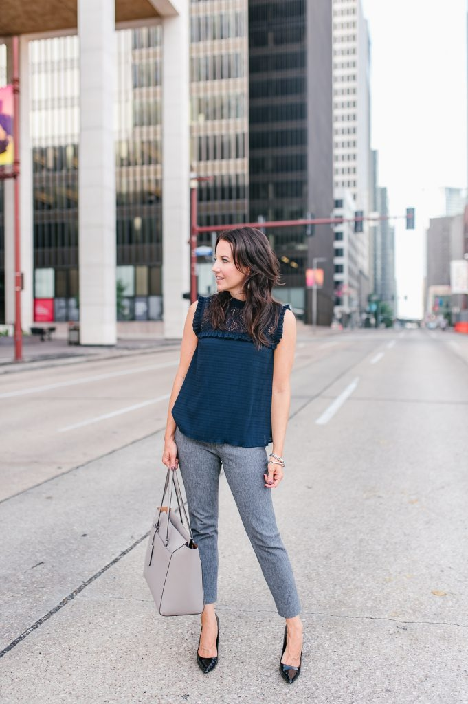 summer work outfit | navy sleeveless top | gray work pants | Houston Fashion Blogger Lady in Violet
